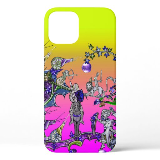 MEDIEVAL BESTIARY WAR, KNIGHTS,GIANT SNAILS Pink iPhone 12 Case