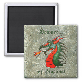 Medieval Beware Dragons 2 Inch Square Magnet