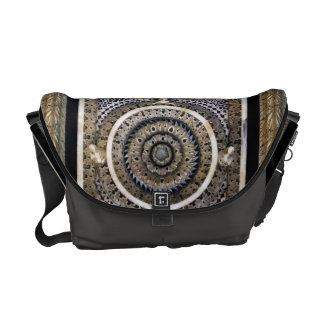 Medieval Black And White Sculpted Marble Pattern Courier Bag