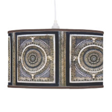 Medieval Black And White Sculpted Marble Pattern Hanging Lamp