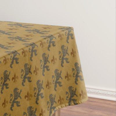 Medieval Gold Lion Red Fleur De Lis Tablecloth | Zazzle.com
