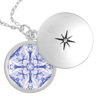 Medieval Blue Cross Round Locket Necklace