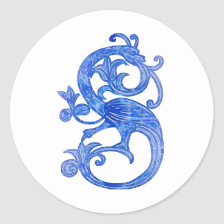 Medieval Blue Glass Dragon Classic Round Sticker