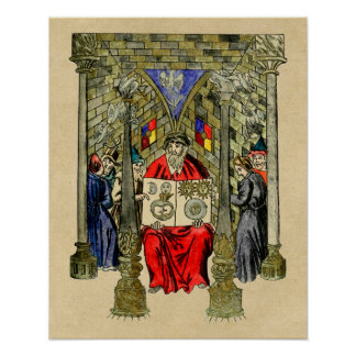Medieval Book of Alchemy Poster
