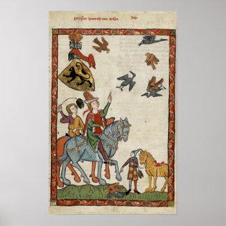 Medieval Boys on horseback with birds Poster Print