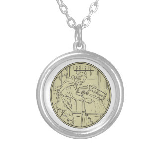 Medieval Carpenter Sawing Wood Circle Retro Silver Plated Necklace