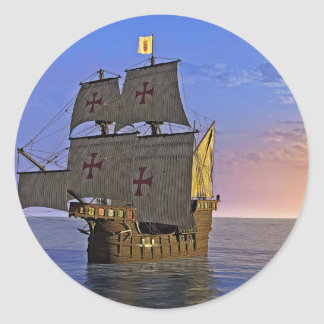 Medieval Carrack at Twilight Classic Round Sticker