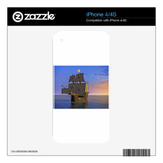 Medieval Carrack at Twilight iPhone 4 Decal