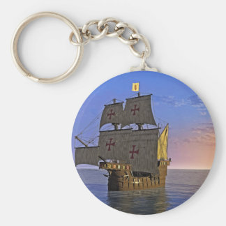 Medieval Carrack at Twilight Keychain