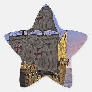 Medieval Carrack at Twilight Star Sticker