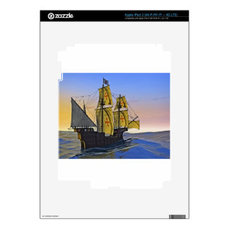 Medieval Carrack Leaving the rough water at Sunset iPad 3 Decal