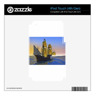 Medieval Carrack Leaving the rough water at Sunset iPod Touch 4G Skin