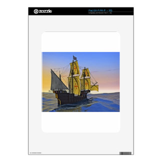 Medieval Carrack Leaving the rough water at Sunset Skins For The iPad