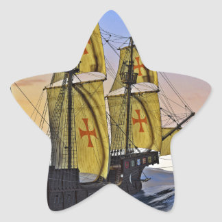 Medieval Carrack Leaving the rough water at Sunset Star Sticker