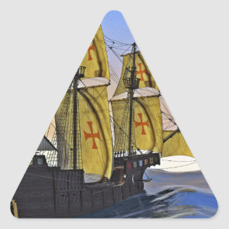 Medieval Carrack Leaving the rough water at Sunset Triangle Sticker
