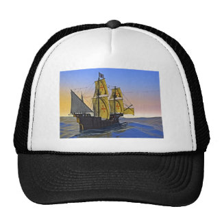 Medieval Carrack Leaving the rough water at Sunset Trucker Hat