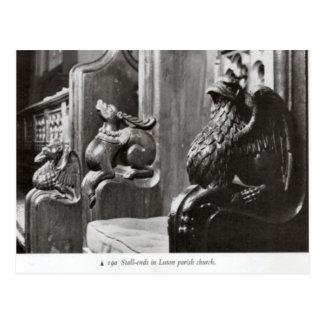Medieval carvings, Luton Parish Church Postcard