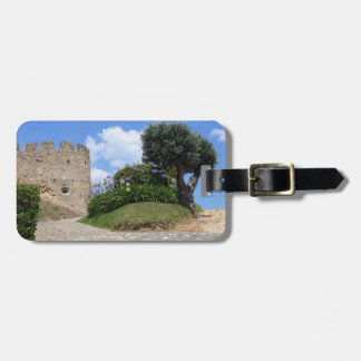 Medieval castle and an olive tree luggage tag