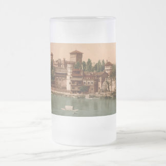 Medieval Castle and Market Town, Turin, Italy Frosted Glass Beer Mug
