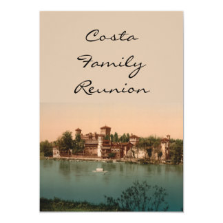 Medieval Castle and Market Town, Turin, Italy 5x7 Paper Invitation Card