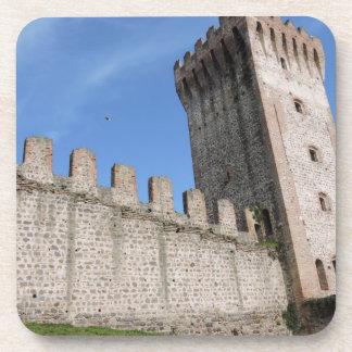 medieval castle knights ancient old antique brick drink coaster