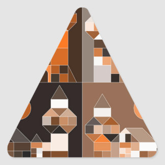 Medieval castle made of blocks. triangle sticker