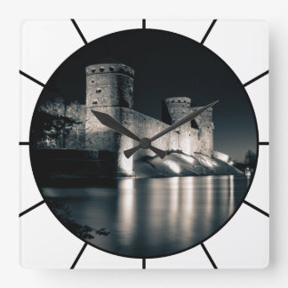 Medieval castle square wall clock