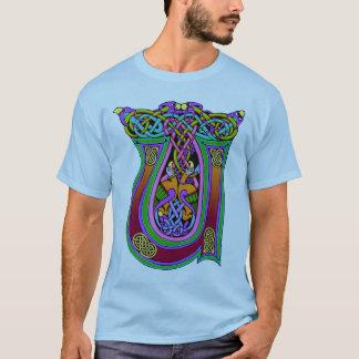 "Medieval Celtic Monogram ""U"", Art Knots Design T-Shirt"