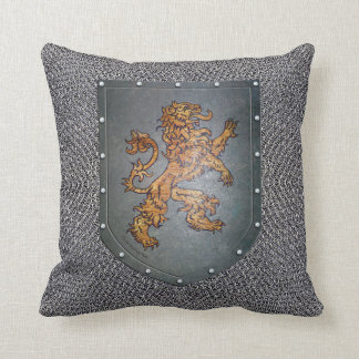 Medieval Chainmail Metal Shield Lion Throw Pillow