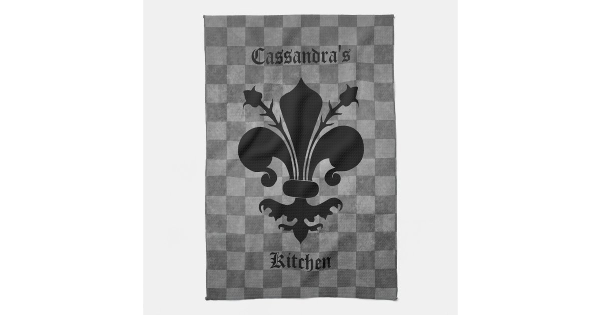 Medieval Checkerboard Fleur De Lis Hand Towel Zazzlecom