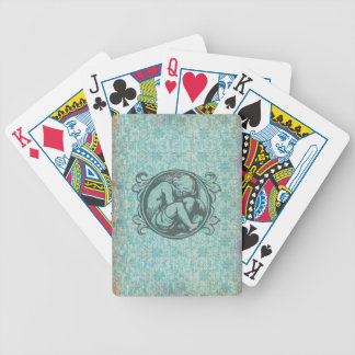 Medieval child (retro boy) in classic vintage art bicycle playing cards