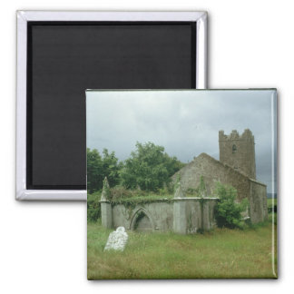 Medieval church and churchyard 2 inch square magnet