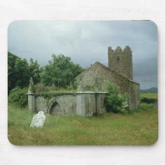 Medieval church and churchyard mouse pad