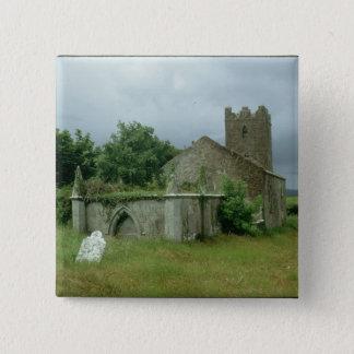 Medieval church and churchyard pinback button