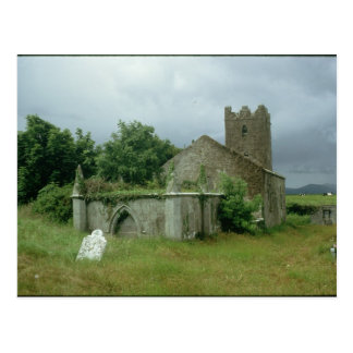 Medieval church and churchyard postcard