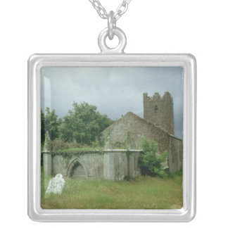 Medieval church and churchyard silver plated necklace