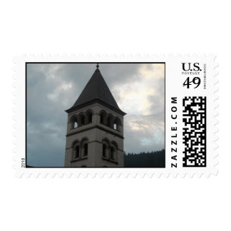 medieval church tower postage stamps
