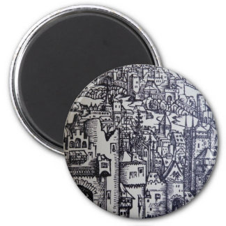 Medieval City 2 Inch Round Magnet