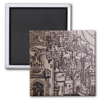 Medieval City 2 Inch Square Magnet