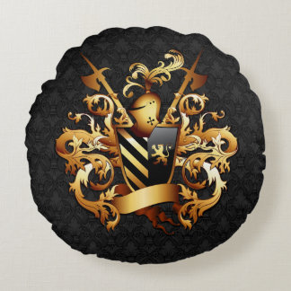 Medieval Coat of Arms Round Pillow