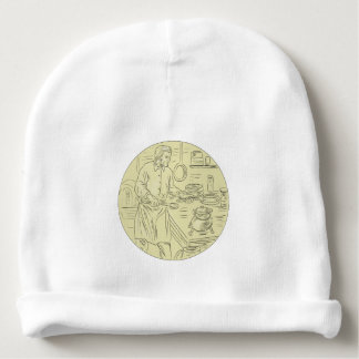 Medieval Cook Kitchen Oval Drawing Baby Beanie