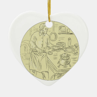 Medieval Cook Kitchen Oval Drawing Ceramic Ornament
