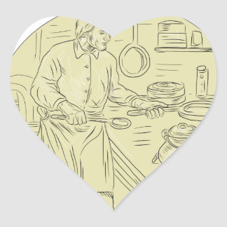 Medieval Cook Kitchen Oval Drawing Heart Sticker