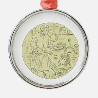 Medieval Cook Kitchen Oval Drawing Metal Ornament