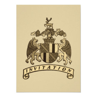 "Medieval Crest Save The Date Cards 5.5"" X 7.5"" Invitation Card"