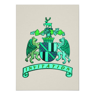 "Medieval Crest Wedding Invites 5.5"" X 7.5"" Invitation Card"