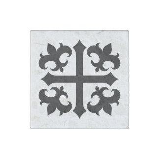 Medieval cross and fleur de lis symbols stone magnet