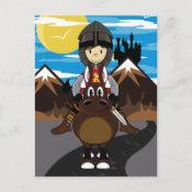 Medieval Crusader Knight Scene Postcard postcard