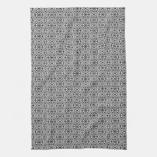 Medieval Damask Diamonds, black and white Kitchen Towels