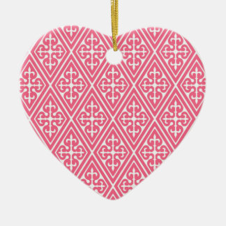 Medieval Damask Diamonds, coral pink & white Ceramic Ornament